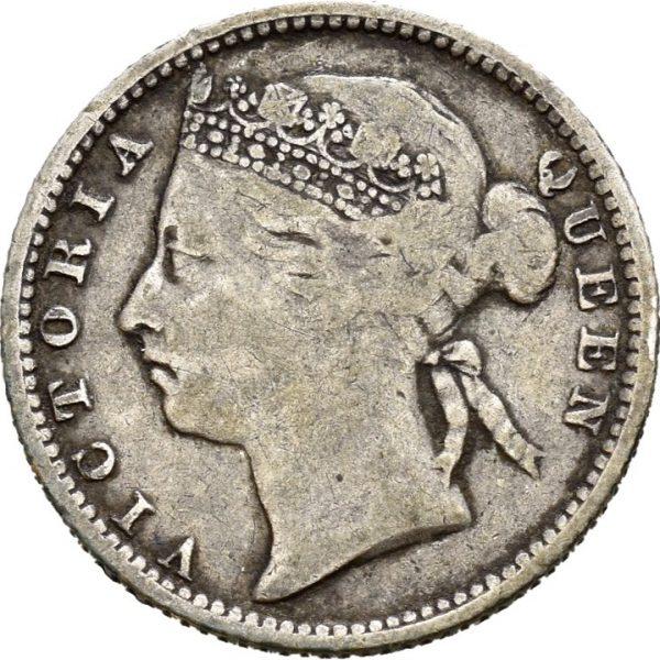 1887 Straits Settlements 10 cents, 1