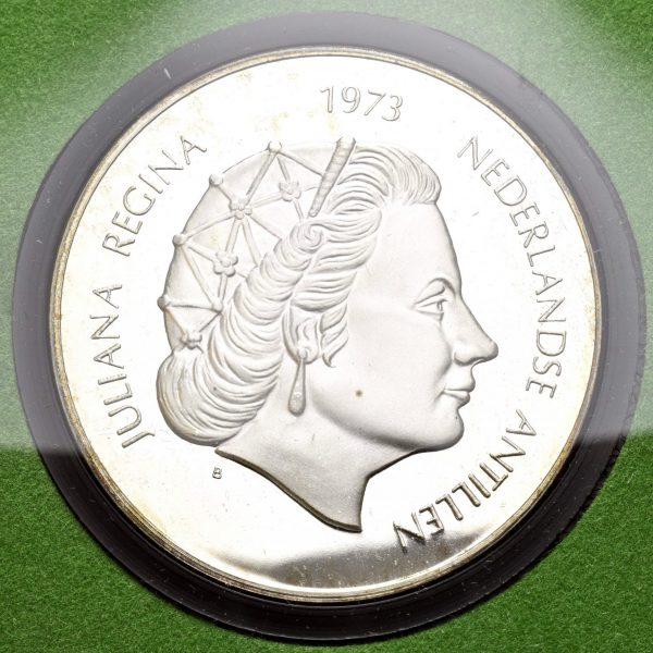 1973 De nederlandske Antiller 25 gulden Queen Juliana 25 års jubileum, 42,12 g .925, proof
