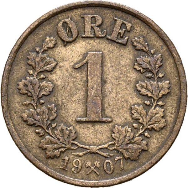 1907 1 øre Haakon VII, 1+