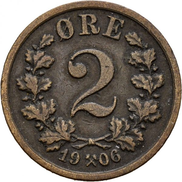 1906 2 øre Haakon VII, 1