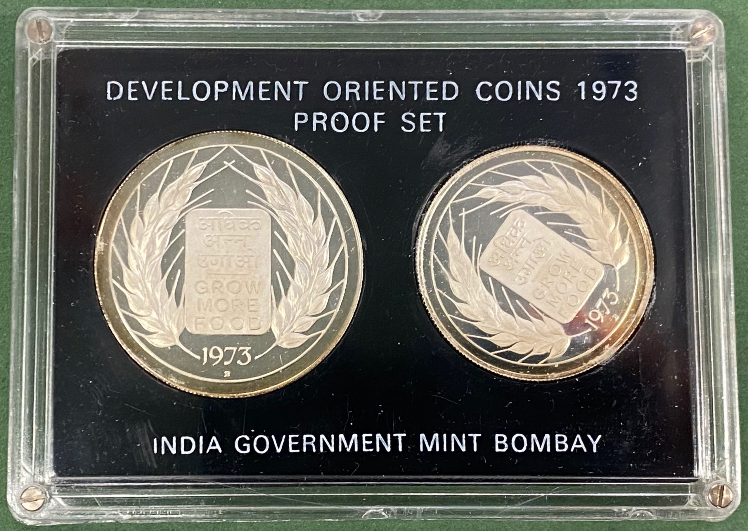 1973 India 10 og 20 rupee proofsett Grow more food, .500 sølv, proof