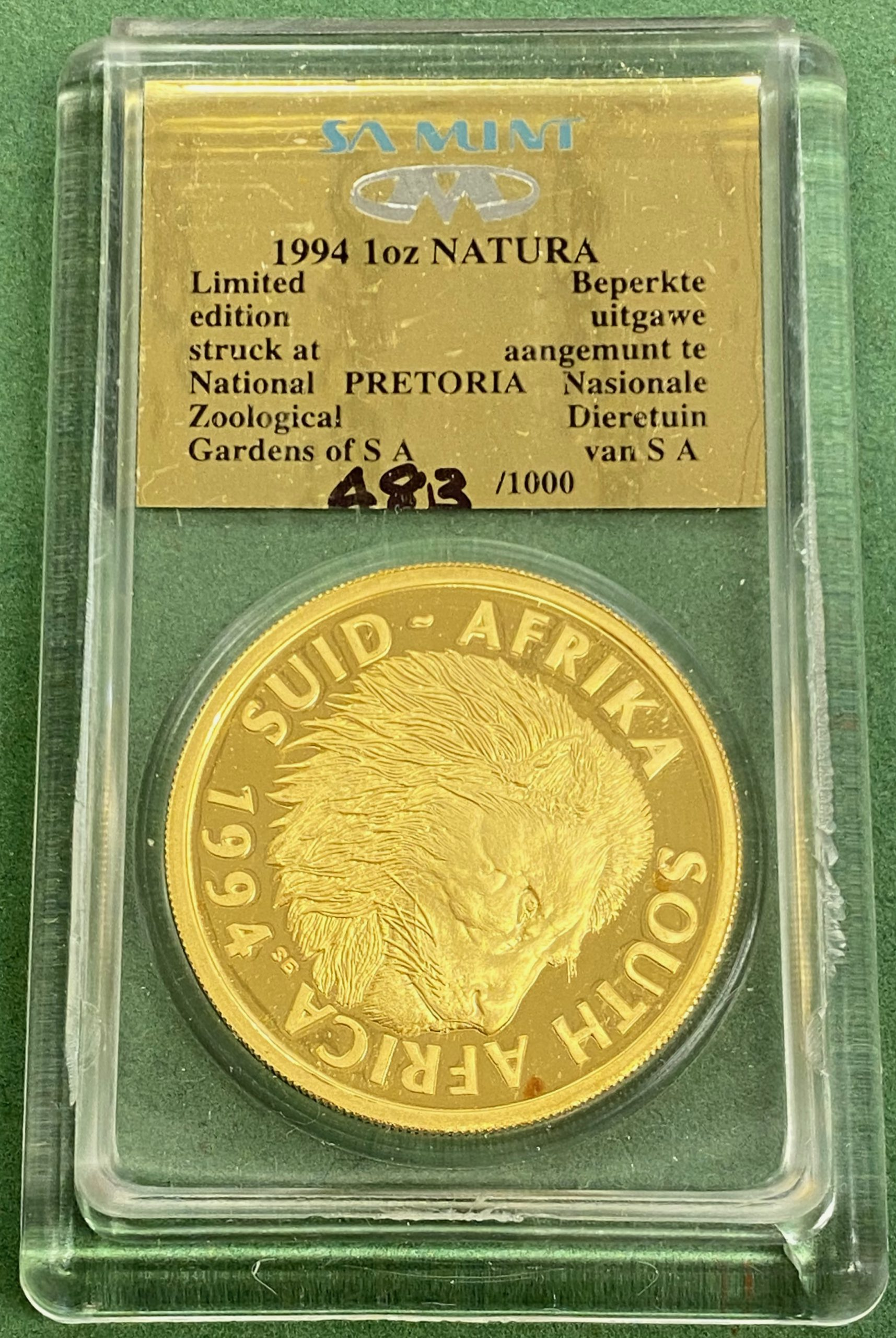 1994 Sør Afrika Natura Coin Monarchs of Africa, 1 oz gull, proof